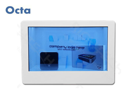 "China 65"" Transparent LCD Display Video Showcase With SD Card Tempered Glass Panel factory"