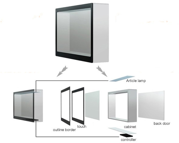 32 Inch Transparent LCD Display Frosted Black Acrylic Transparent Display Screen